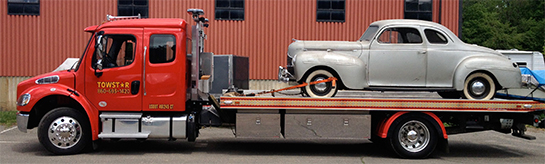 Specialty classic car flatbed hauling service in Connecticut using Towstar